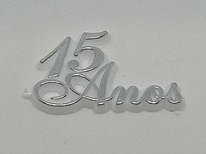 Aplique 15 Anos Prata/Branco 10unid Ref.AC134