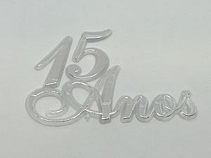 Aplique 15 Anos Prata/Cristal 5unid Ref.AC104