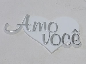 Aplique Amo Você Coração Prata/Branco 5unid Ref.AC105