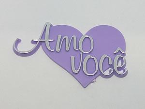 Aplique Amo Você Coração Prata/Lilas 5unid Ref.AC106