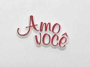 Aplique Amo Você Vermelho/Branco 12unid Ref.AC144