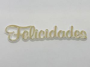 Aplique Felicidades Ouro/Branco 6unid Ref.AC126