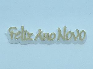 Aplique Feliz Ano Novo Ouro/Branco 10unid Ref.AC137