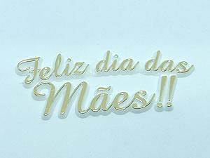Aplique Feliz Dia das Mães Ouro/Branco 5unid Ref.AC108