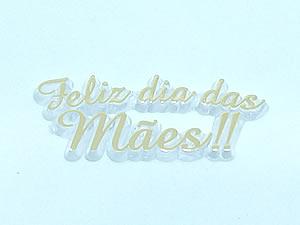 Aplique Feliz Dia das Mães Ouro/Cristal 10unid Ref.AC138