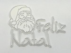 Aplique Feliz Natal Papai Noel Prata/Branco 5unid Ref.AC110