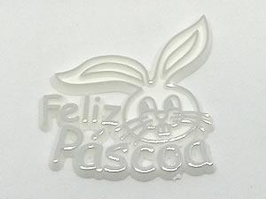 Aplique Feliz Páscoa Coelho Prata/Branco 5unid Ref.AC112
