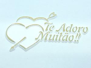 Aplique Te Adoro Muitão Coração Ouro/Branco 5unid Ref.AC122