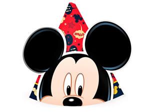 Chapéu de Aniversário Mickey Classico 08unid Regina Festas, Medidas: 14 x 14 x 15 cm