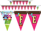 Faixa Feliz Aniversário Coruja Festcolor, Medidas: 2.40m x 13 x 19 cm