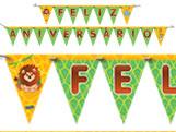 Faixa Feliz Aniversário Zoo Safari Festcolor, Medidas: 2.40m x 13 x 19 cm