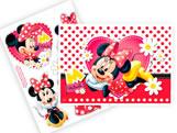 Kit Decorativo 7 Adesivos e 01 Painel Red Minnie Regina Festas
