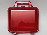 Maleta Vermelha Acrilica Quadrada Translucida, Medidas: 12 x 7 x 13 cm