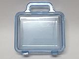 Maleta Azul Claro Acrilica Quadrada Translucida, Medidas: 12 x 7 x 13 cm