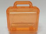 Maleta Laranja Acrilica Quadrada Translucida, Medidas: 12 x 7 x 13 cm