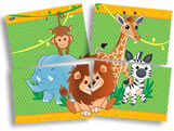 Painel para Decoração Zoo Safari 4 Lâminas Festcolor, Medidas: 1,28m x 90 cm