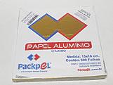 Papel Chumbo Aluminio 16x15cm Ouro Brilhante