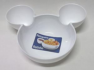 Petisqueira Ratinho Pote de Plástico 14cm 1unid Branca