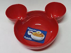 Petisqueira Ratinho Pote de Plástico 14cm 1unid Vermelha