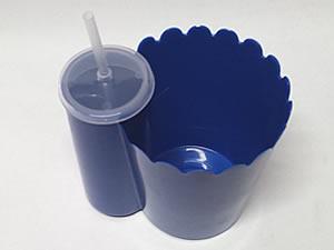 Pipofri Balde de Pipoca 1Litro com Copo 300ml Azul Escuro 1unid