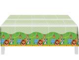 Toalha Plástica de Mesa Zoo Safari Festcolor, Medidas: 1.20m X 1.80m cm