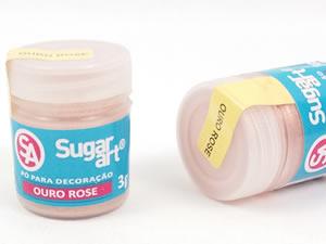 Pó para Decoração 3g Ouro Rosê Brilhante Sugarart