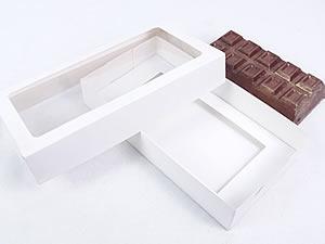 Caixa Branca com Visor para Barra de Chocolate 300g Ref.9664 BWB