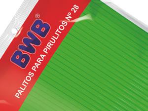 Canudo Palito para Pirulito Grande Verde Sólido nº28 Ref.9489 BWB