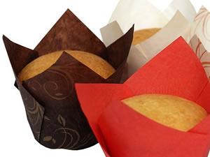 Forminhas Tulipas para CupCake Muffin 5cm 60g Marrom com Dourado Ecopack Ref.TU150150-0 25unid Sulformas