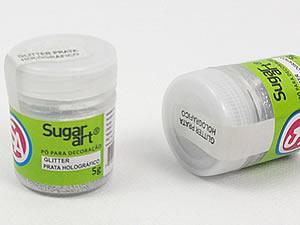 Glitter para Decoração 5g Prata Holográfico FrutaCor Sugarart