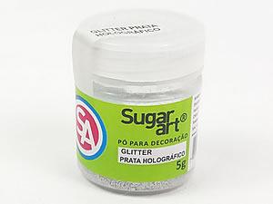 Glitter para Decoração 5g Prata Holográfico Sugarart