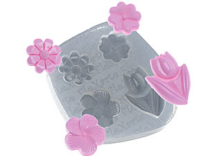 Molde de Silicone Quarteto de Flores Athina cod.522 Flexarte