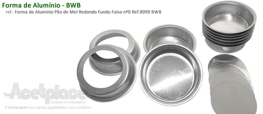 1a98f609a4 Forma de Aluminio Pão de Mel Redondo Fundo Falso nº0 Ref.8999 BWB