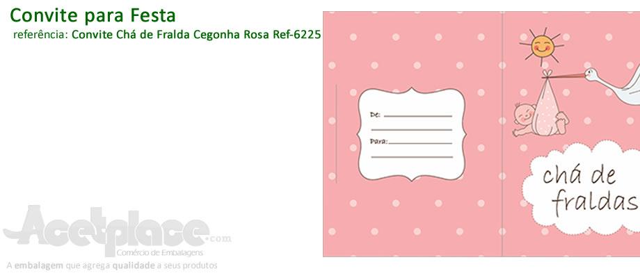Acetplace Convite Chá De Fralda Cegonha Rosa Ref 6225 Caixa De